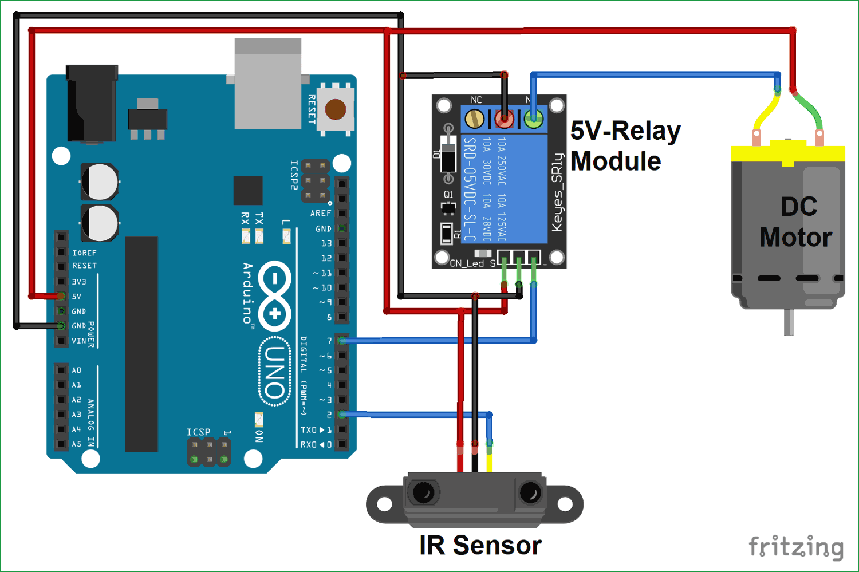 Схема управления двигателем постоянного тока с помощью Arduino и инфракрасного датчика