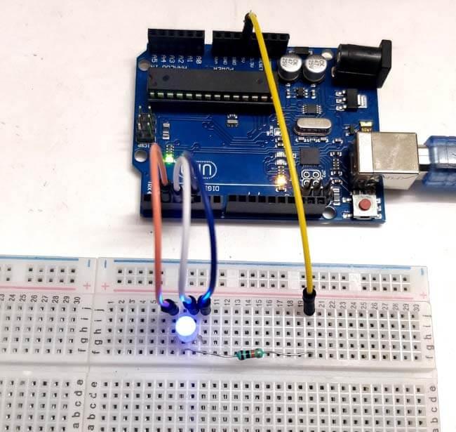 Подключение трехцветного светодиода к Arduino Uno: внешний вид конструкции
