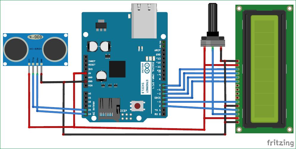 Схема устройства для измерения расстояний с помощью Arduino и ультразвукового датчика