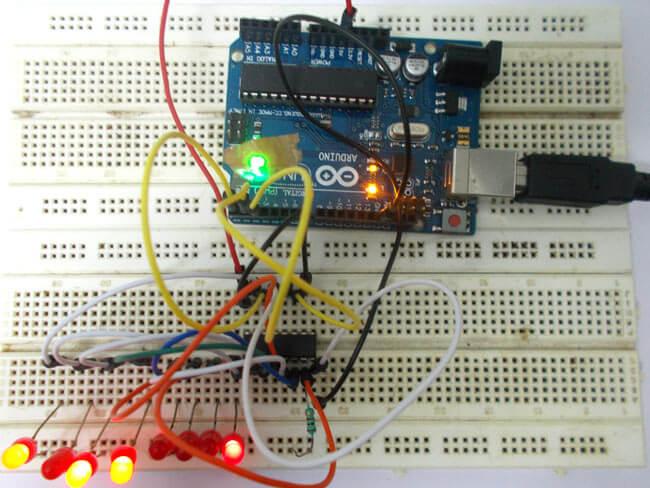 Подключение регистра сдвига 74HC595 к Arduino Uno: внешний вид