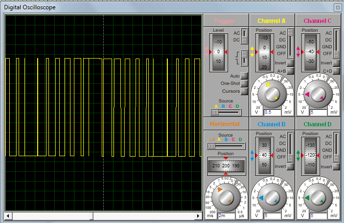 Пример ШИМ модуляции с высоким разрешением на осциллографе