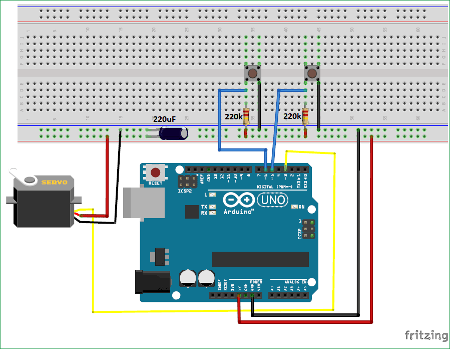 Схема подключения серводвигателя к Arduino Uno