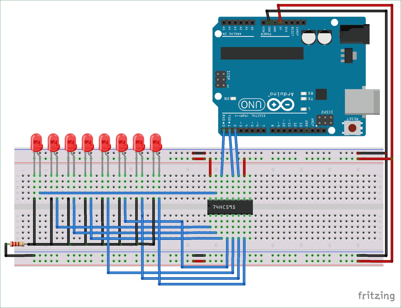 Схема подключения регистра сдвига 74HC595 к Arduino Uno