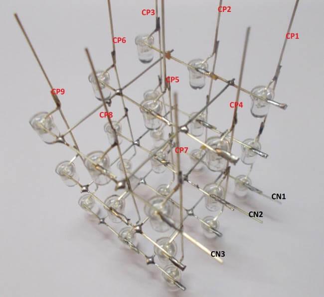 Внешний вид получившегося куба из светодиодов