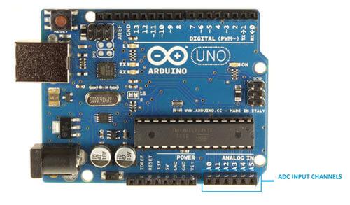 Внешний вид платы Arduino Uno с отмеченными входами АЦП
