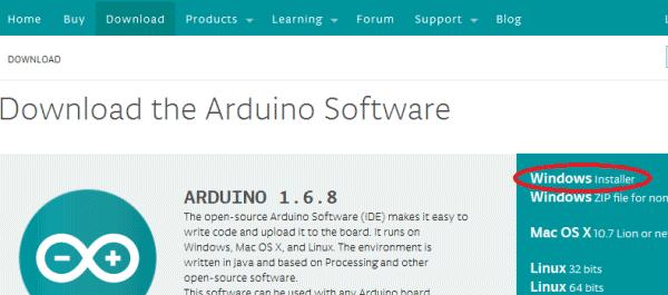 Ссылка для скачивания windows installer Arduino Software