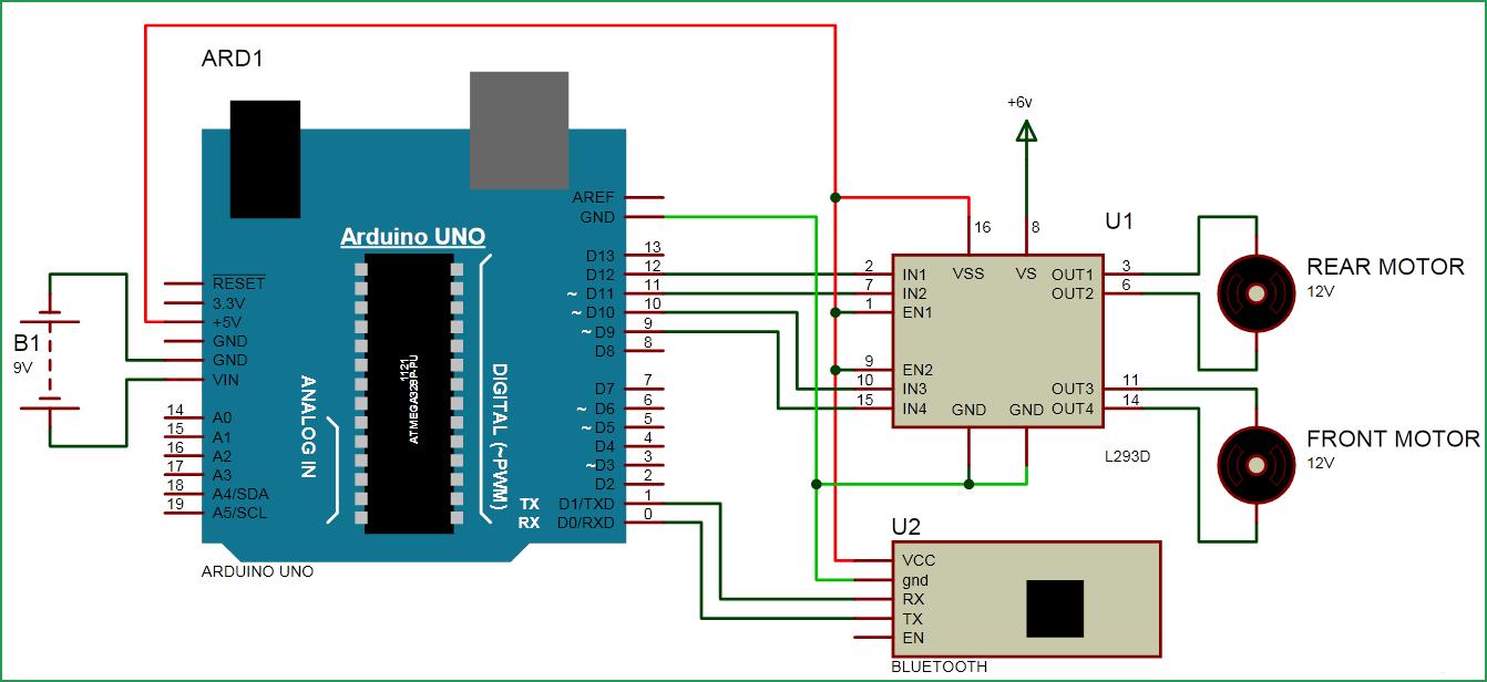 Схема роботизированной машины на Arduino, управляемая по Bluetooth
