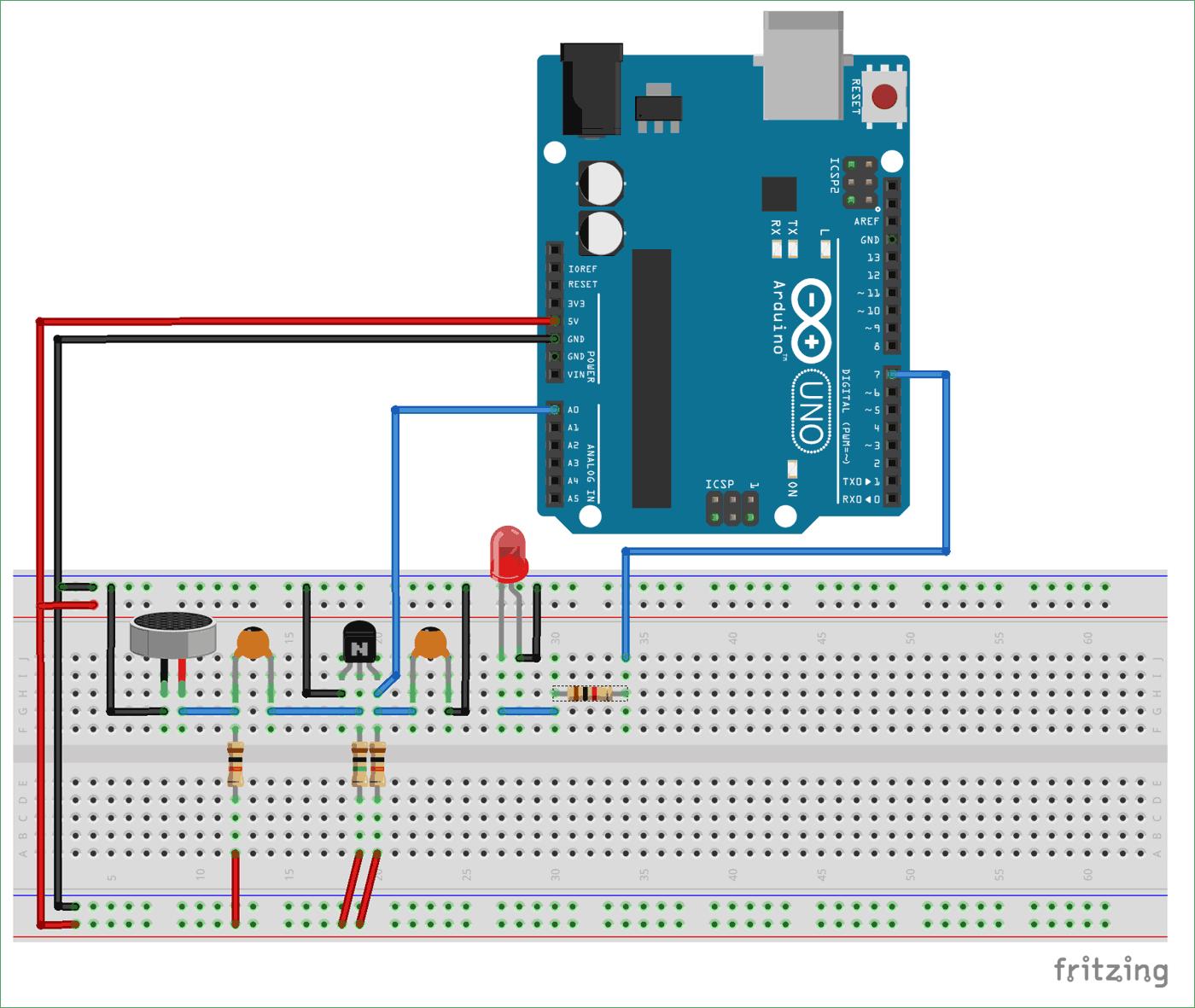 Схема переключателя по хлопку на Arduino Uno