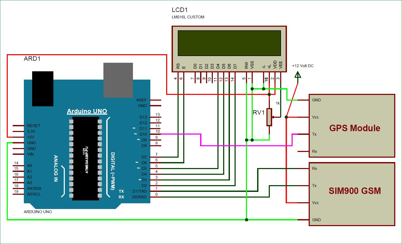 Схема устройства для отслеживания местоположения автомобиля с использованием GPS, GSM и Arduino