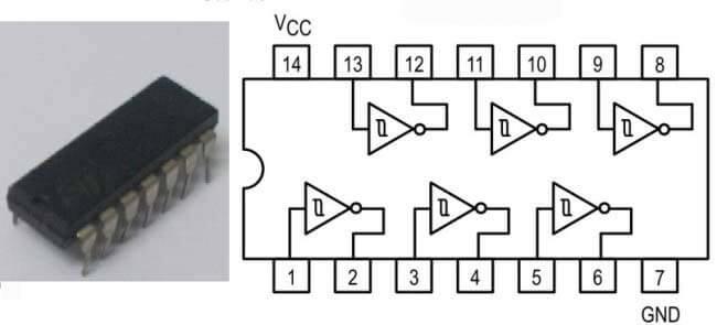 Схема соединений триггеров Шмидта в микросхеме 74HC14