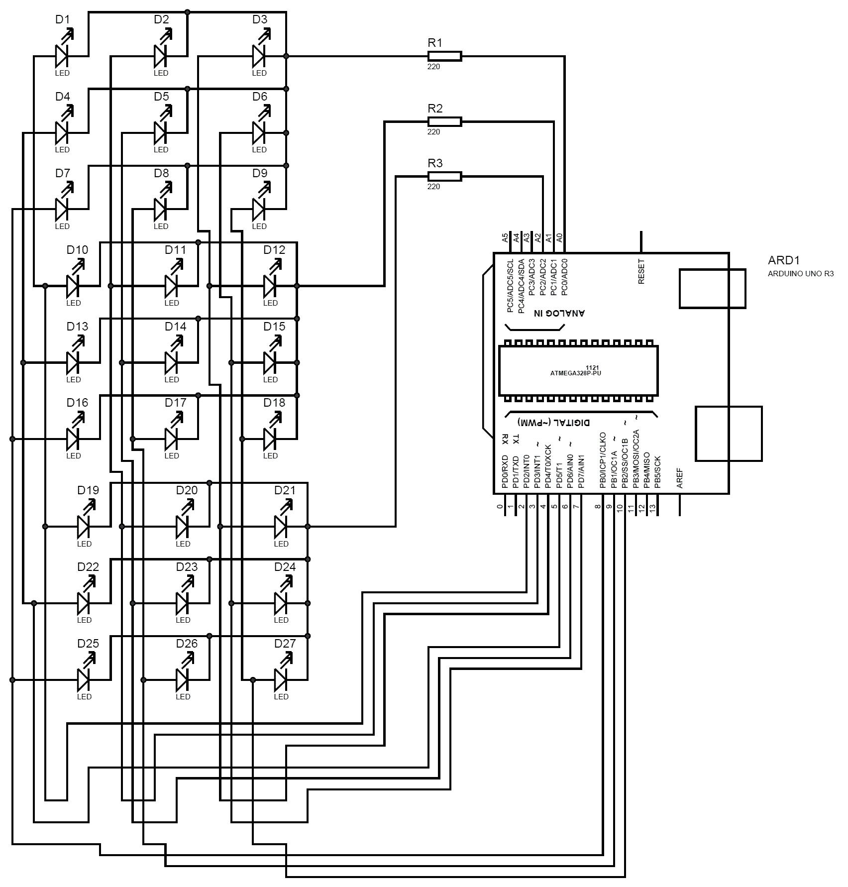 Схема светодиодного куба 3х3х3 на Arduino Uno