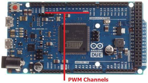 Контакты платы Arduino Due, на которых возможно формирование ШИМ сигнала
