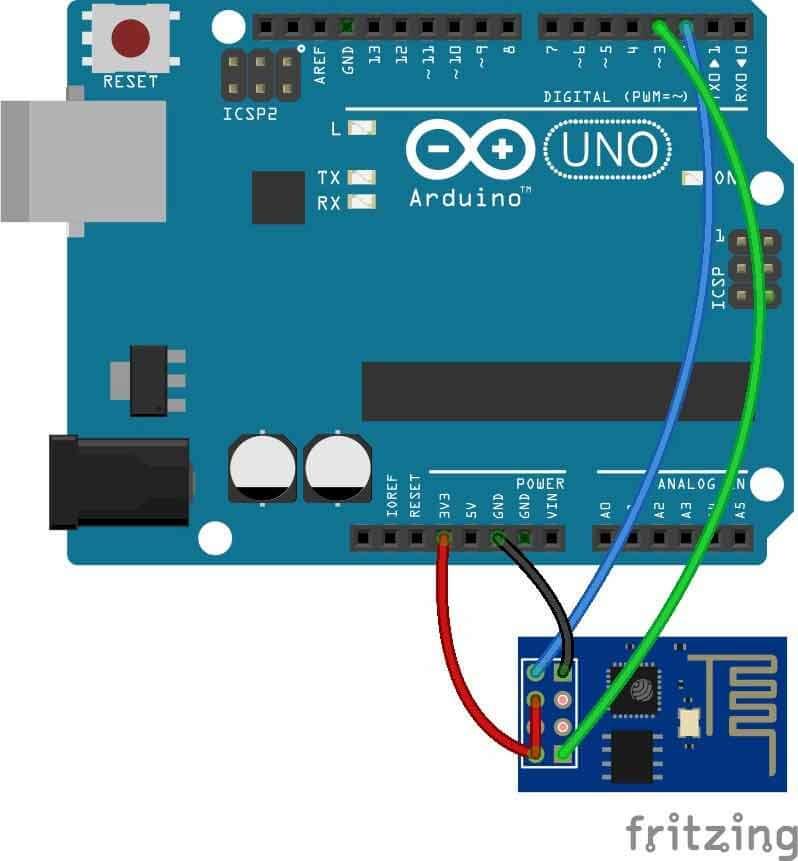 Схема устройства для передачи данных от Arduino Uno на веб-страницу с помощью WiFi