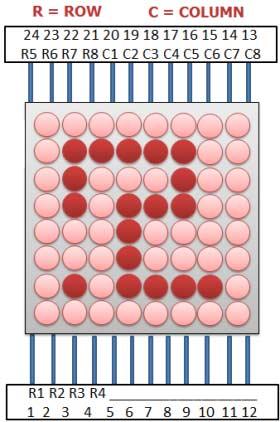 Схема расположения контактов точечного дисплея матричного типа 8х8