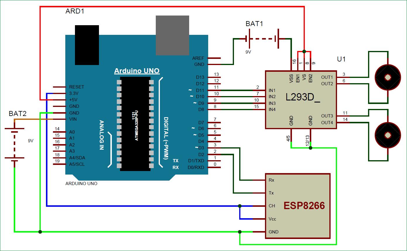 Схема робота на Arduino Uno, управляемого по WiFi