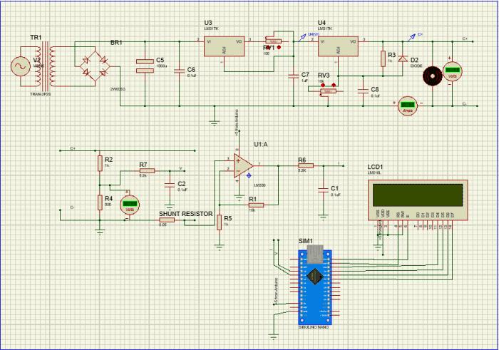 Вид нашей схемы в симуляторе Proteus 8
