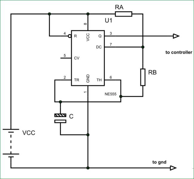 Типовая схема генератора прямоугольных колебаний на основе таймера 555