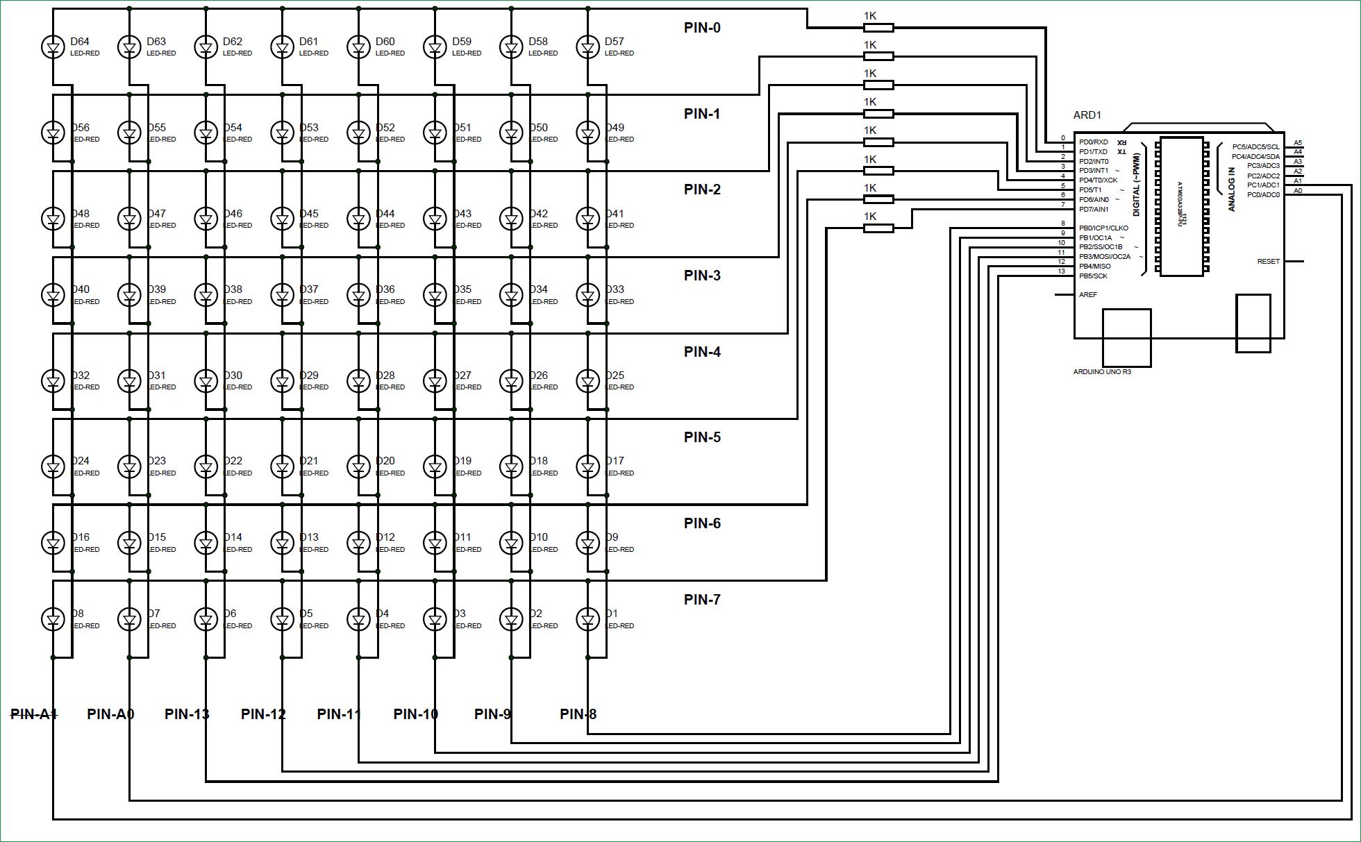 Схема устройства для скроллинга текста на светодиодной матрице 8х8 под управлением Arduino