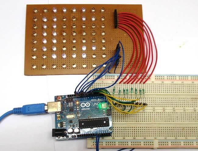 Внешний вид устройства для скроллинга текста на светодиодной матрице 8х8 под управлением Arduino