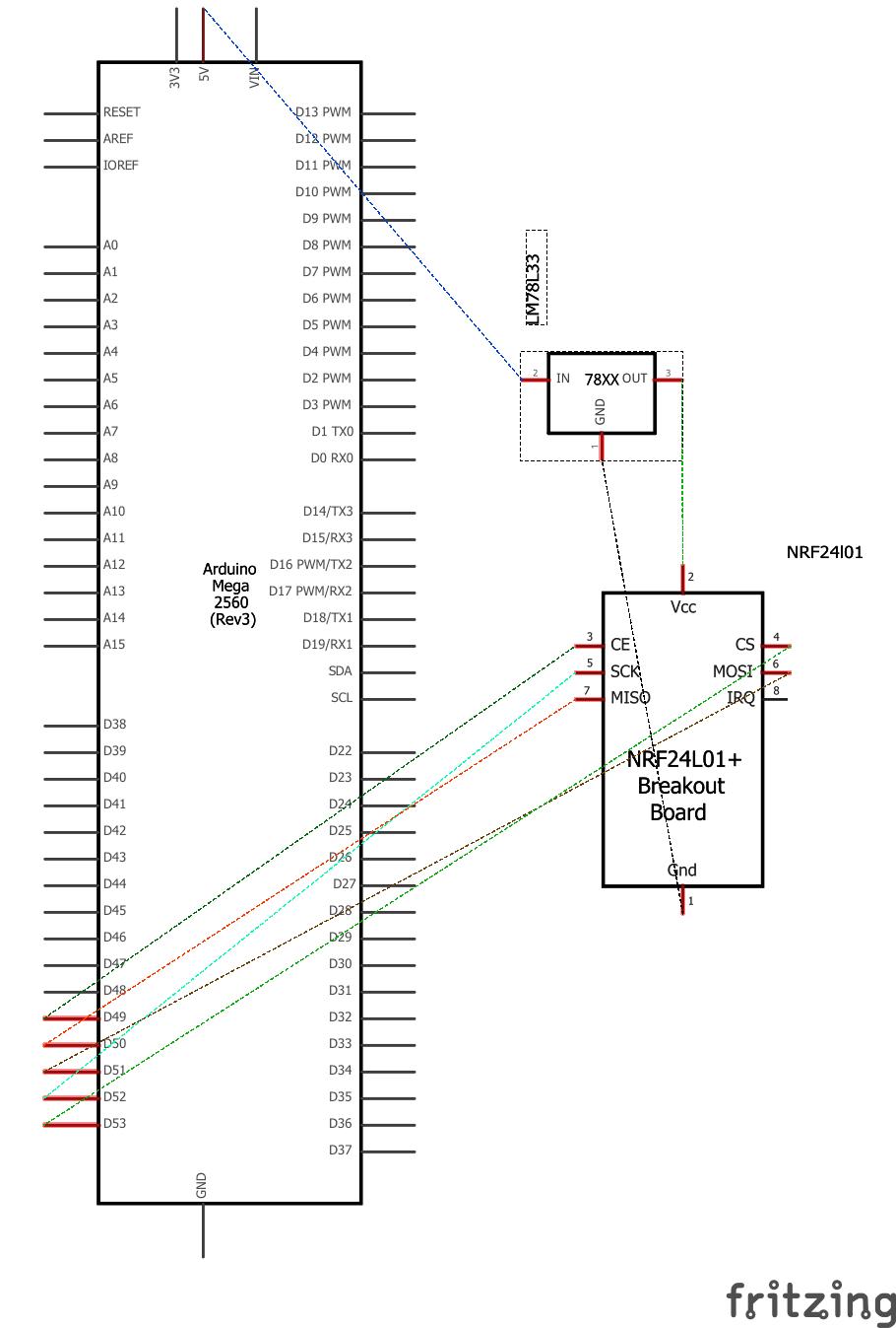 схема соединений платы Arduino Mega с радиочастотным модулем nRF24L01