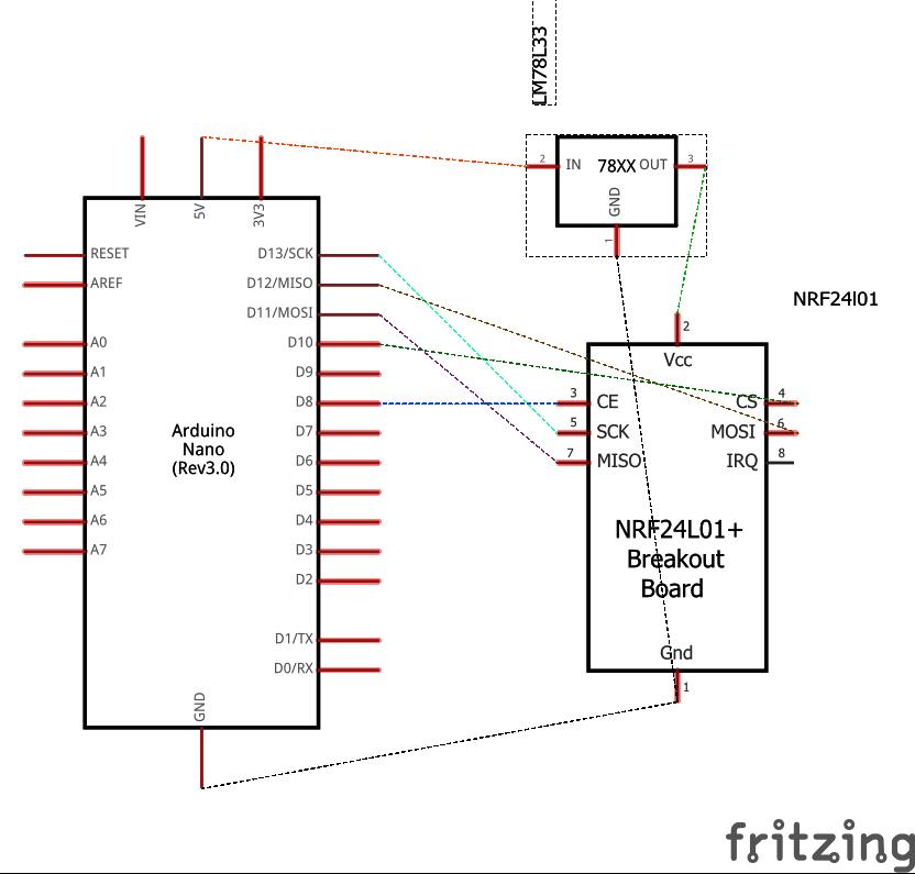 Схема соединений платы Arduino Nano с радиочастотным модулем nRF24L01