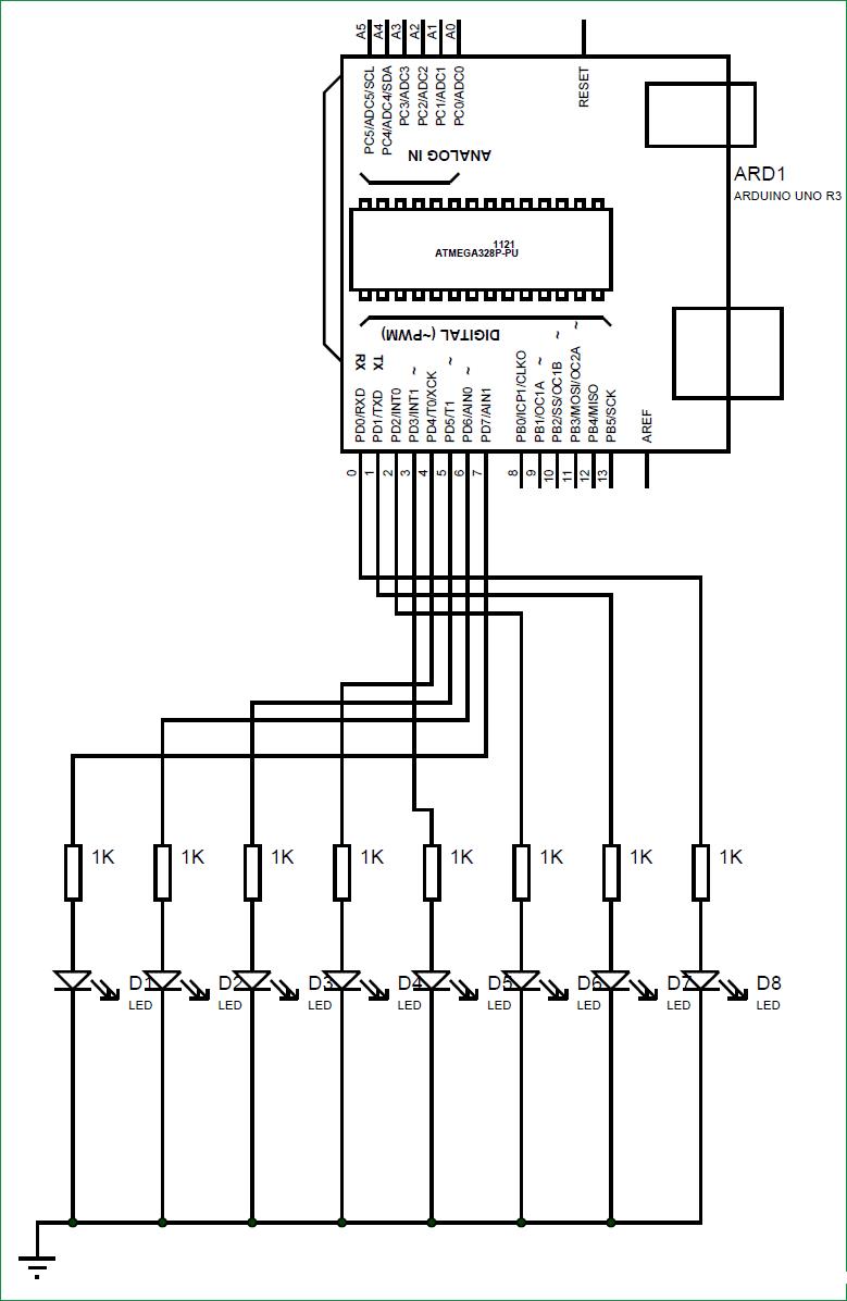 Схема вращающегося светодиодного дисплея на Arduino