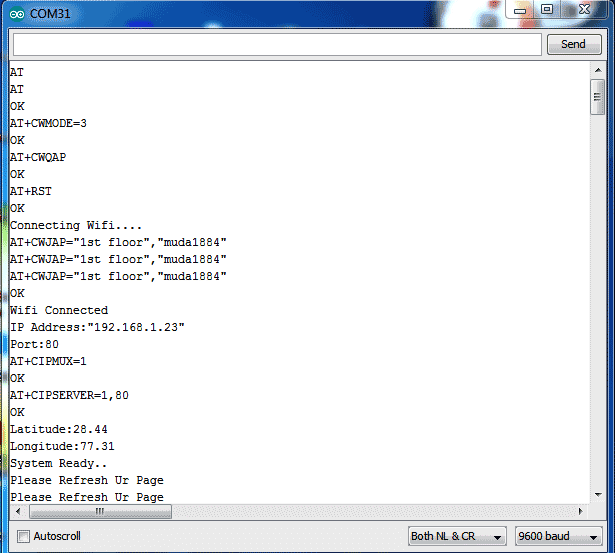 Процесс обмена данными в последовательном режиме между Wi-Fi модулем ESP8266 и платой Arduino в Serial Monitor'е