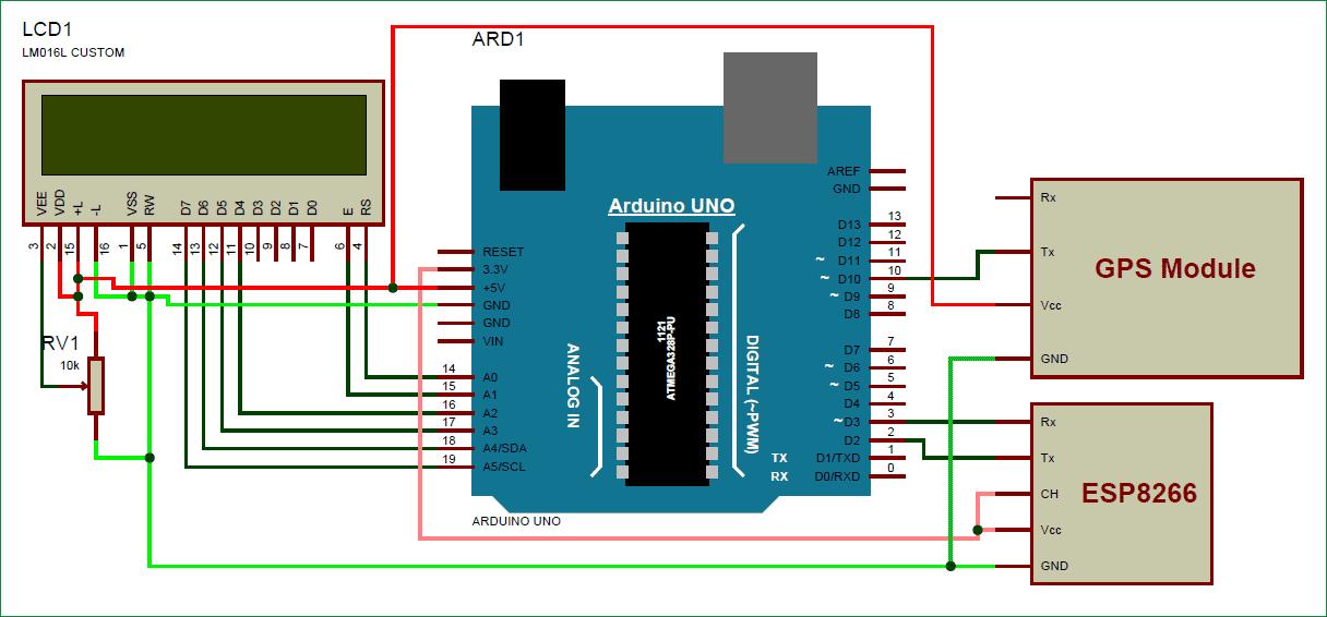 Схема устройства для отслеживания местоположения автомобиля на Google Maps с помощью Arduino, ESP8266 и GPS