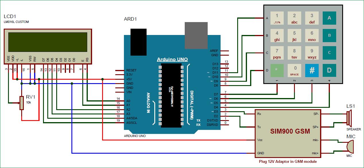 Принципиальная схема мобильного телефона на основе Arduino и GSM модуля