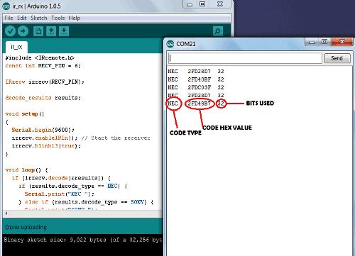 Примеры считанных кодов в мониторе последовательного порта Arduino