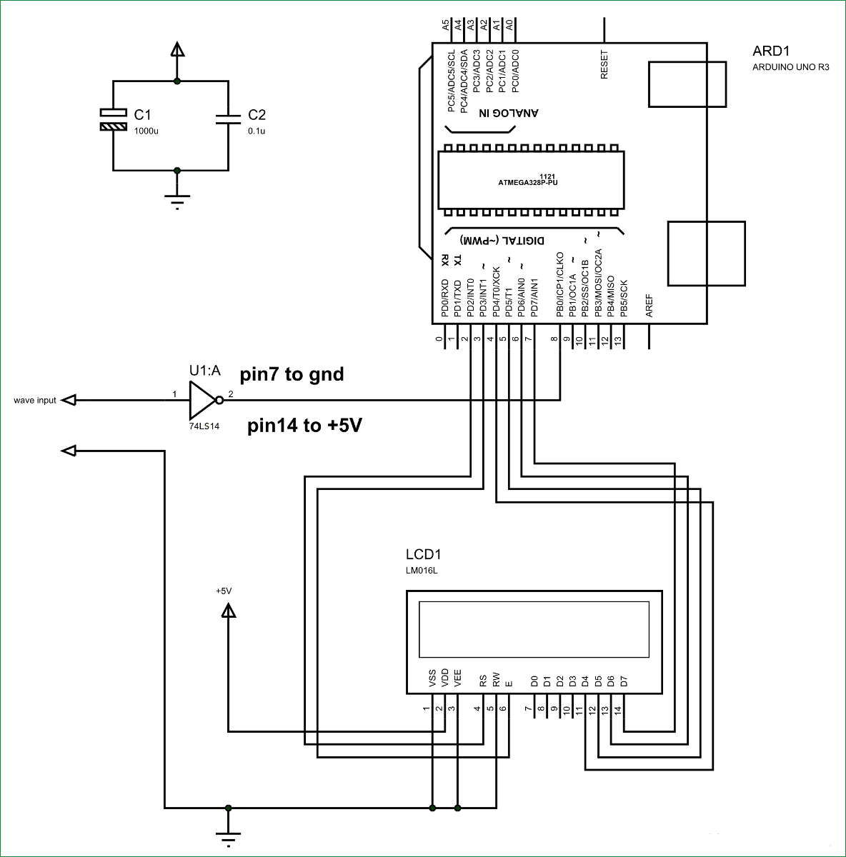 Схема частотомера на Arduino Uno