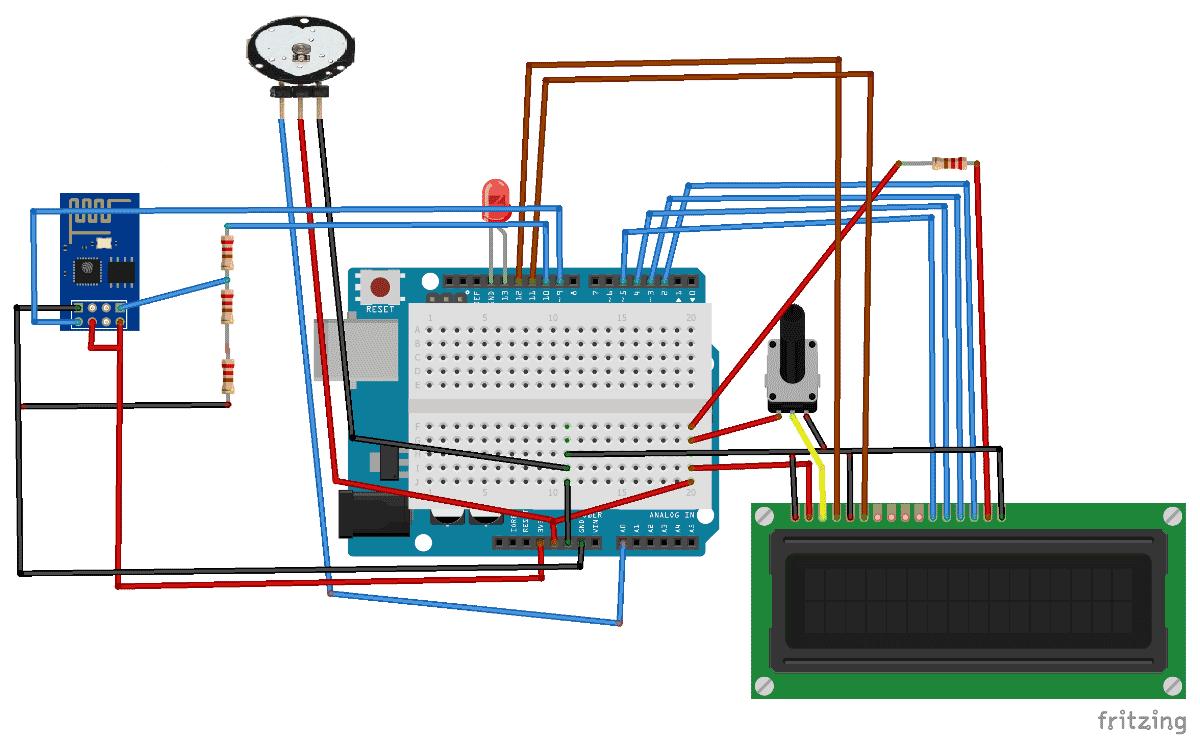 Схема устройства для мониторинга сердечного пульса на Arduino через интернет