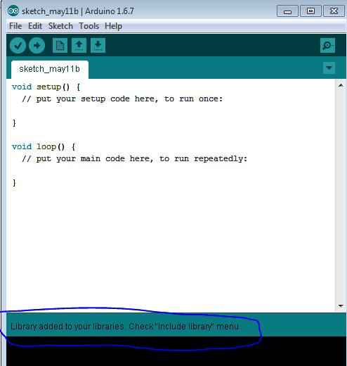 Библиотека успешно установилась в Arduino IDE