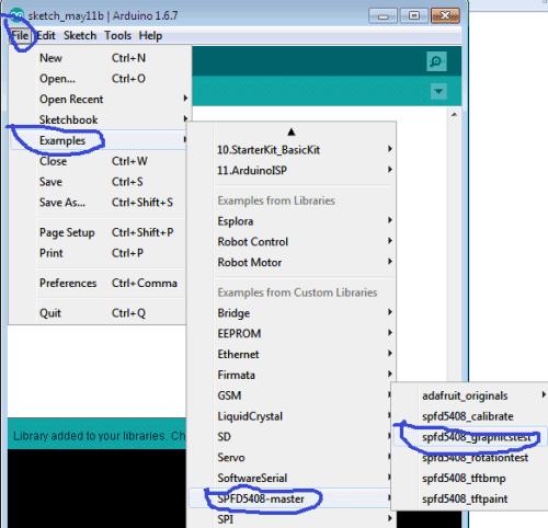 Выбор файла с примером работы с TFT дисплеем