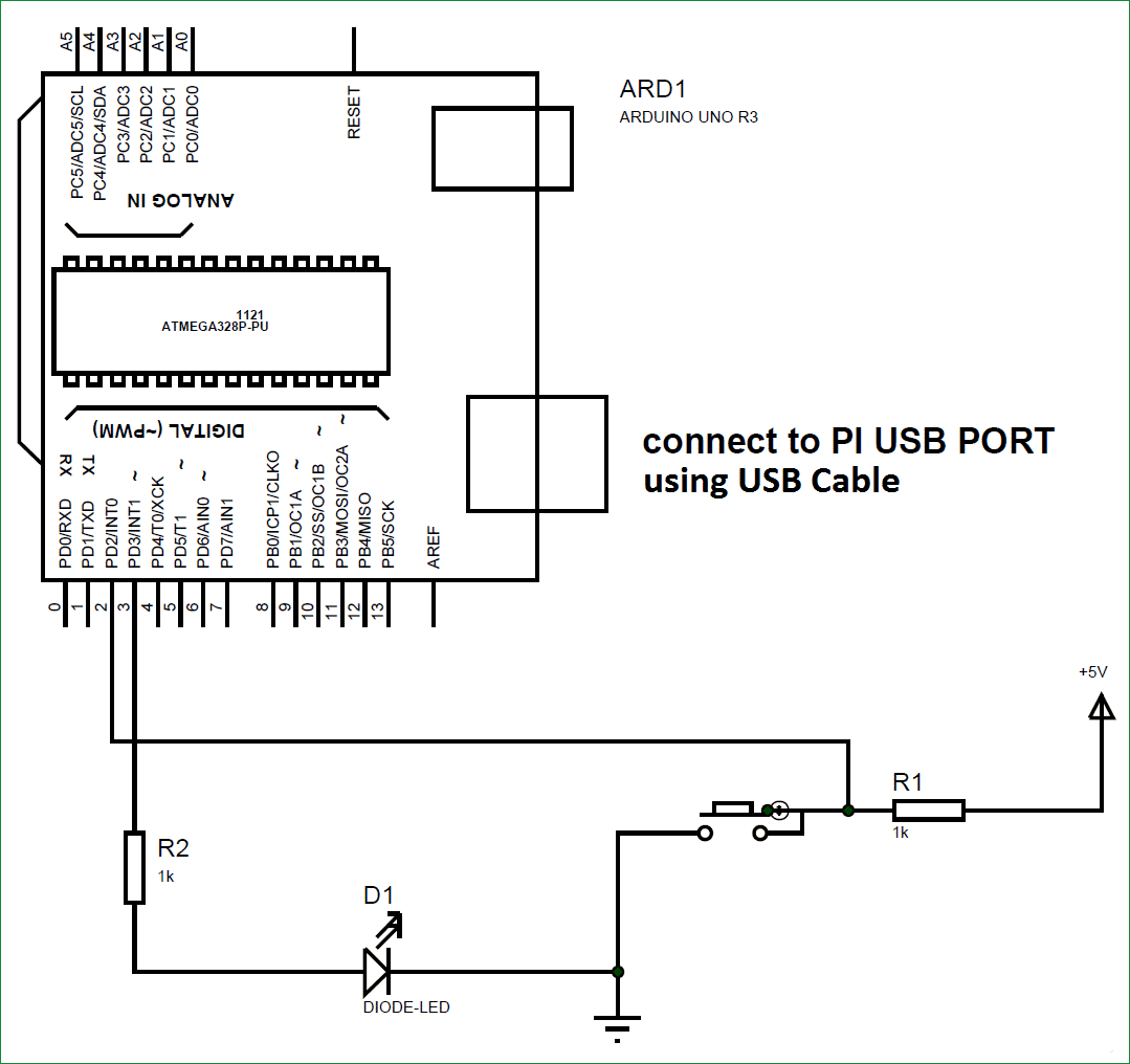 Схема подключения Arduino к Raspberry Pi