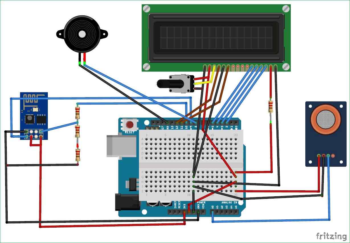 Схема устройства для мониторинга загрязнения воздуха на основе Arduino