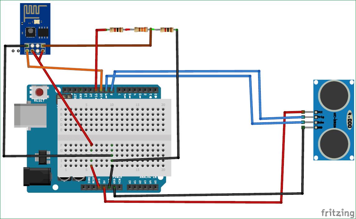 Схема мониторинга наполненности контейнера с помощью Arduino и ESP8266