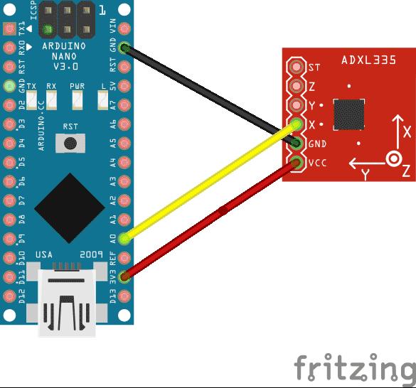 Схема соединений платы Arduino и акселерометра