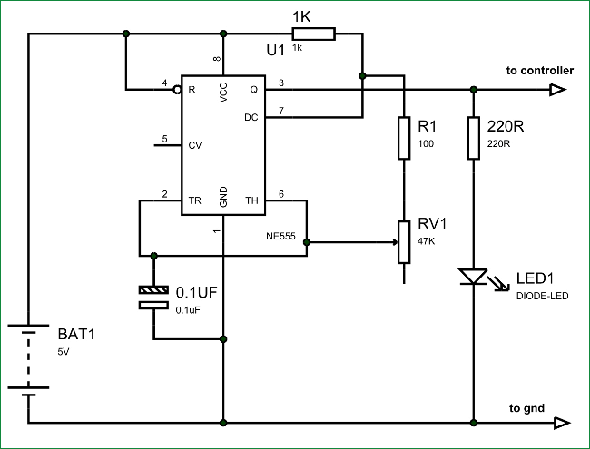 Схема используемого нами генератора сигналов на основе таймера 555