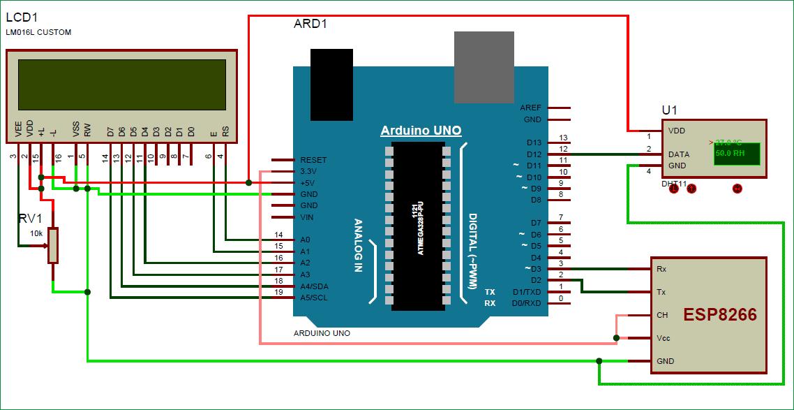 Схема устройства для мониторинга температуры и влажности через Интернет с помощью Arduino