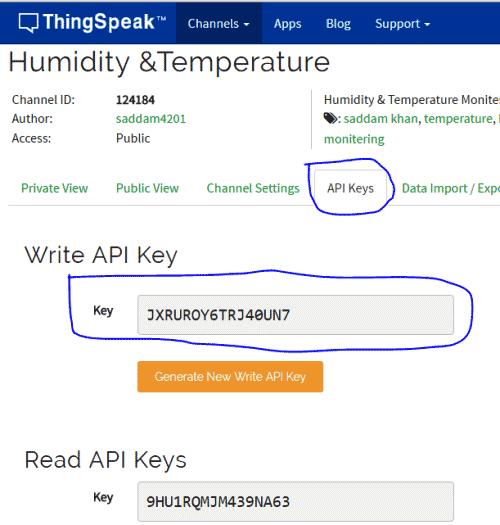 Страница с ключами на ThingSpeak
