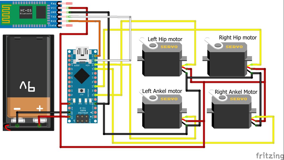 Схема шагающего и танцующего робота на основе платы Arduino