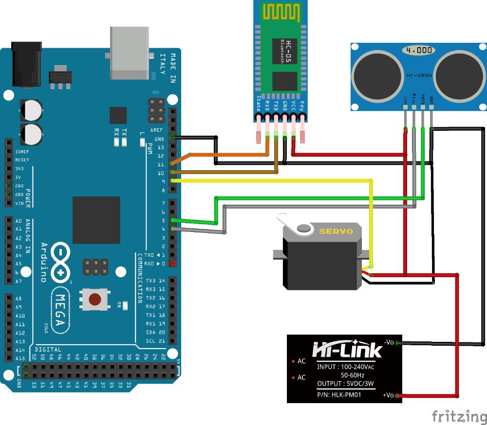 Схема радара с использованием Arduino и ультразвукового датчика
