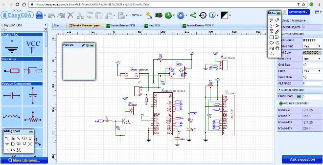 Вид нарисованной схемы нашего детектора дыма в симуляторе EasyEDA