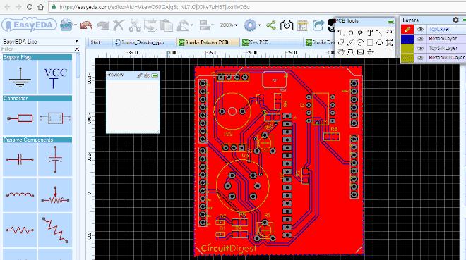 Скриншот верха нашей печатной платы в симуляторе EasyEDA