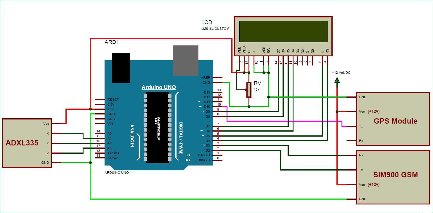 Схема системы предупреждения об авариях автомобилей на основе платы Arduino