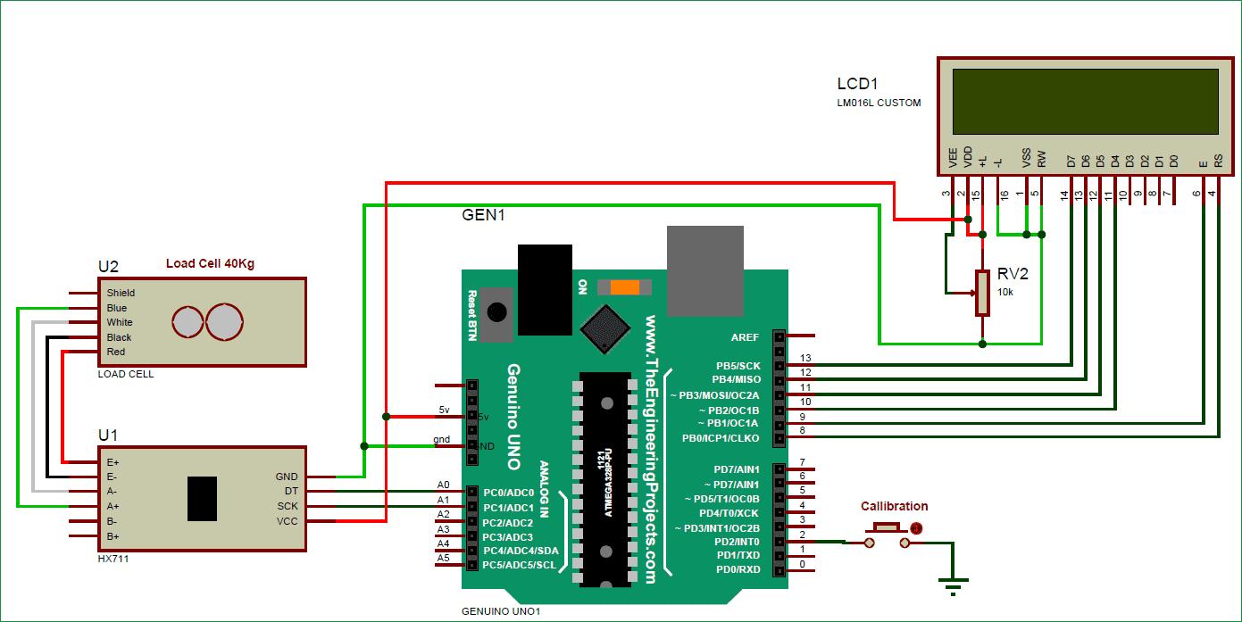 Схема весов на основе Arduino, датчика нагрузки и модуля HX711
