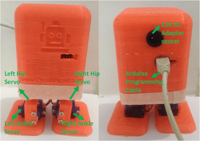 Названия сервомоторов робота