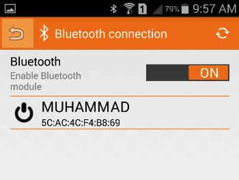 Включение Bluetooth в приложении RemoteXY