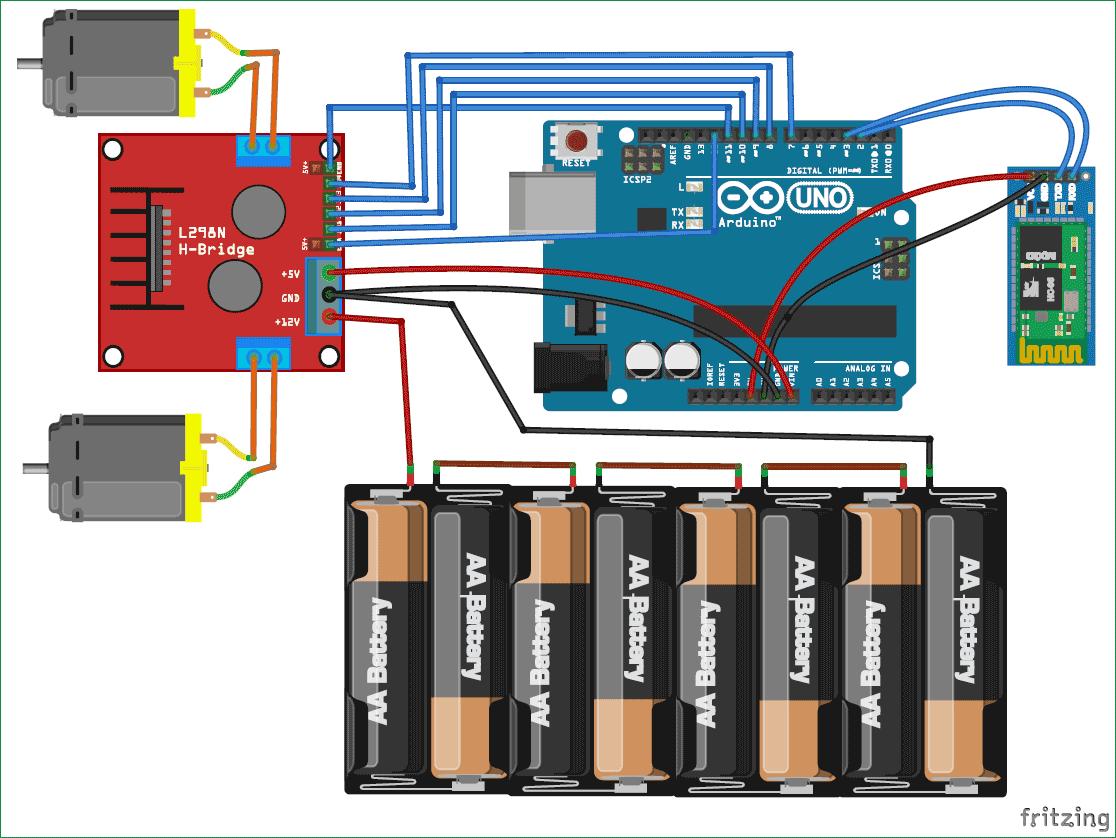 Схема машины на Arduino, управляемой с мобильного телефона